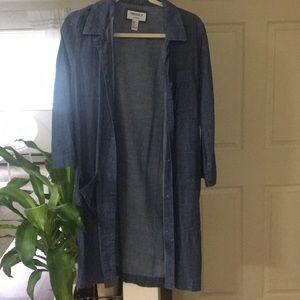 Long chambray cardigan